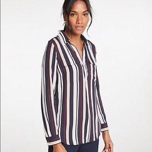 Ann Taylor striped camp shirt NWT